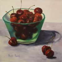 Cherries in a Green Glass Bowl