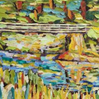 Aniseed Valley Bridge: oil painting 0f the Rocky Mountain Series