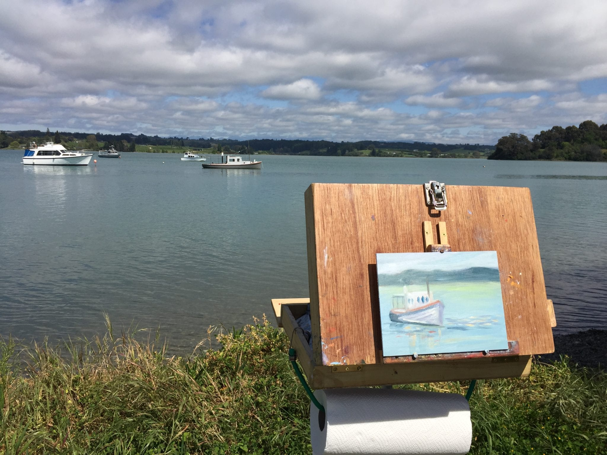 Plein Air Painting At Grossi Point, Mapua, New Zealand, Nicole Russell